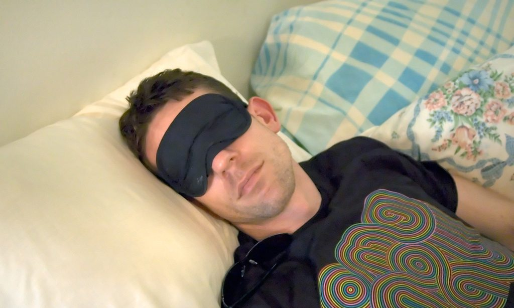 man in sleep mask