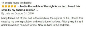 positive review of my snoring solution