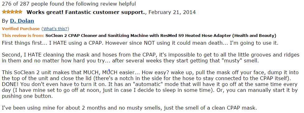 positive review of the soclean 2